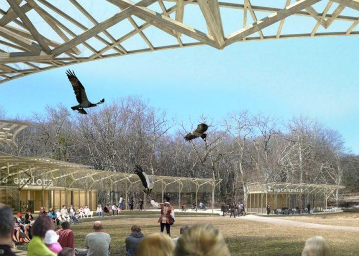 Station touristique Animal Explora de Châteauvillain - Perspective du coeur de domaine - INCA architectes